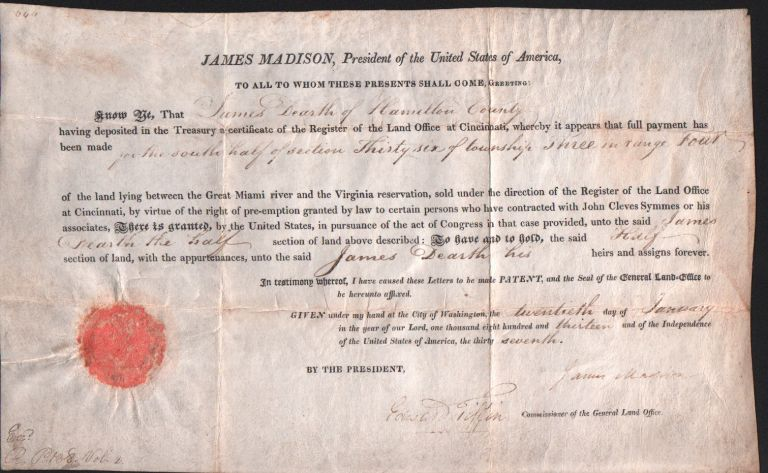 Partly printed document signed. Land grant. James Madison.