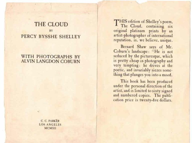 The Cloud. By Percy Bysshe Shelley. With photographs by Alvin Langdon Coburn. Alvin Langdon Coburn, Shelley, sshe.