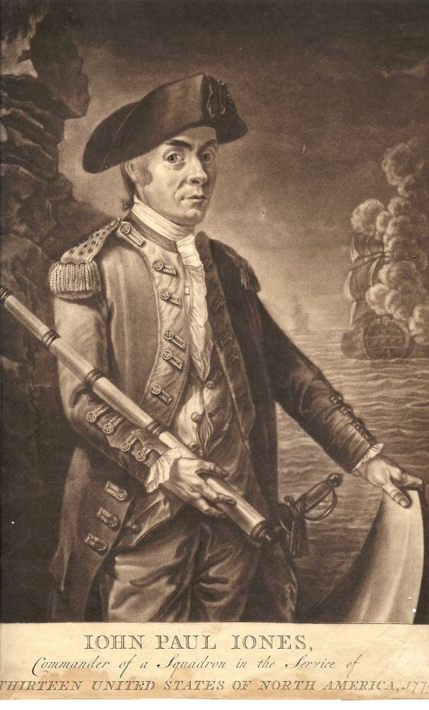 Mezzotint portrait: John Paul Jones, Commander of a Squadron in the Service of The Thirteen United States of North America, 1779. John Paul Jones, subject.
