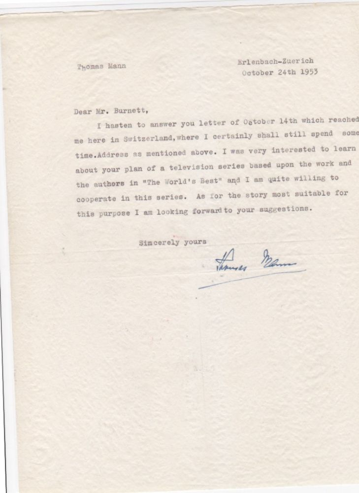 Typed letter signed, to Whit Burnett, Erlenbach-Zurich, Oct. 24, 1953. One page. Thomas Mann.