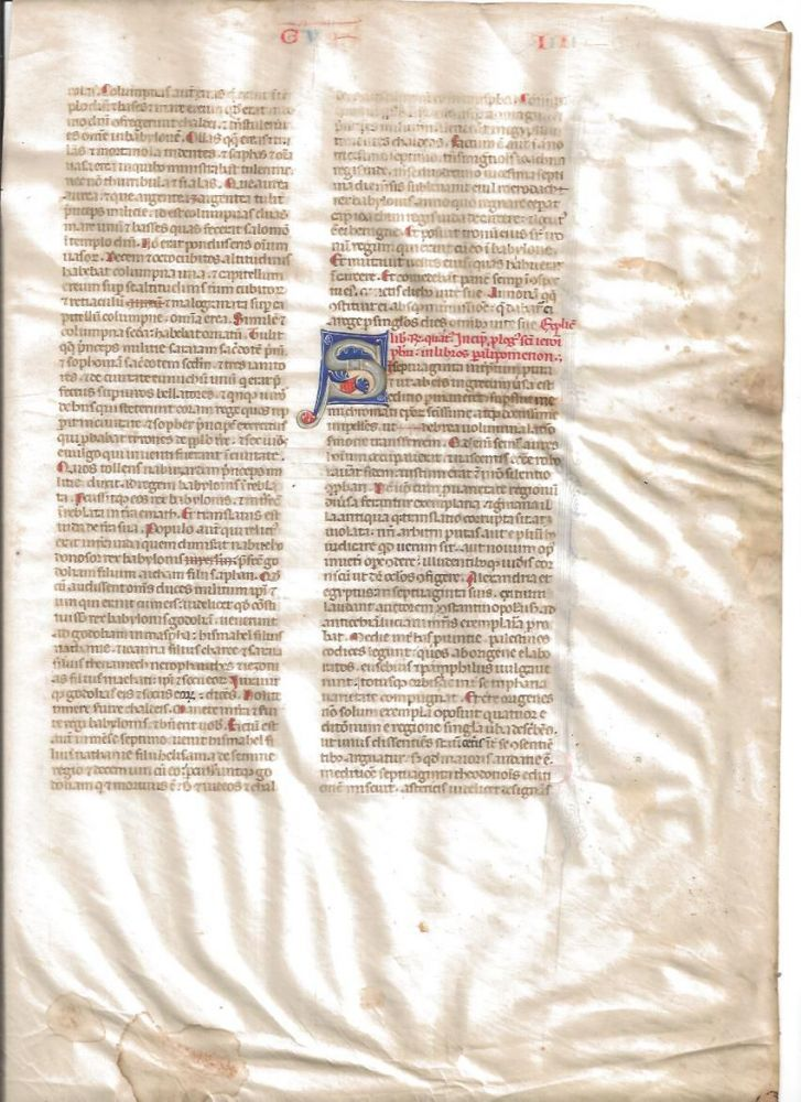 Vellum leaf from a Latin Bible. End of Book of Kings, beginning of Paralipomena (Chronicles)