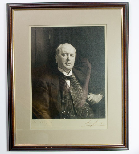 Original silver bromide photograph of John Singer Sargent's celebrated portrait of Henry James, 10 1/2 x 13 inches (image), 15 x 18 3/4 inches (image & mount), signed on the mount by both James and Sargent. Henry James, John Singer Sargent.