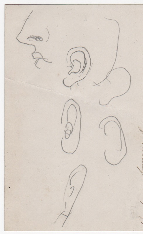 "Original drawing ""Criticisms on a lady's Earrings. Feb. 9, 1879."" Pencil sketches of an ear. J. E. Millais."