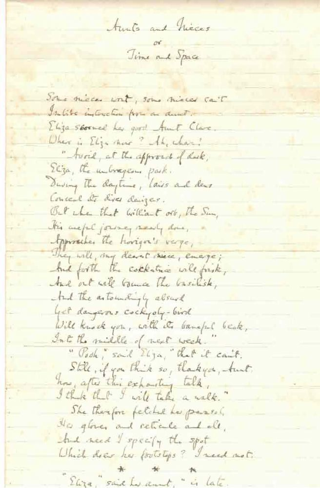 """""""Aunts and Nieces, or Time and Space."""" Holograph manuscript poem of Housman's long and grimly humorous poem, A. E. Housman."""
