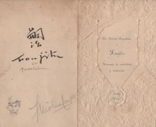 Los Artistas Argentinos a Foujita. Homenaje de cordialidad y admiración. The handsome relief-printed menu for this testimonial dinner, signed by Foujita. Tsugaharu Foujita.